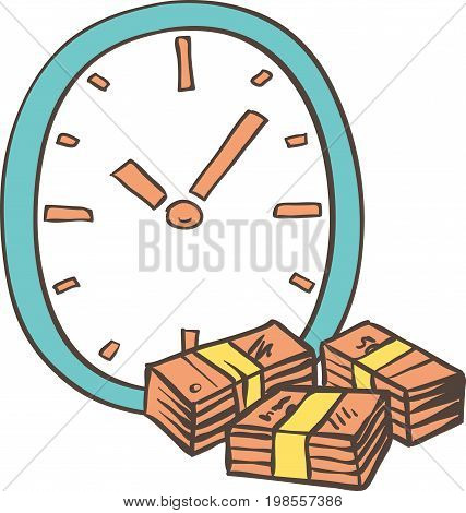 Blue Clock in Doodle Style and Wads Isolated on a White Background