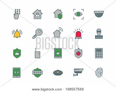 Home security set of thin line flat icons