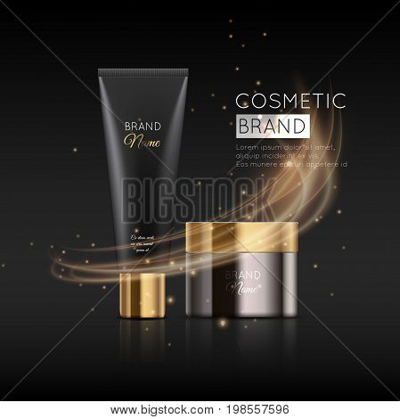 A Beautiful Cosmetic Templates For Ads, Realistic 3D Black Matte Tube And Cosmetic Jar With Lighting