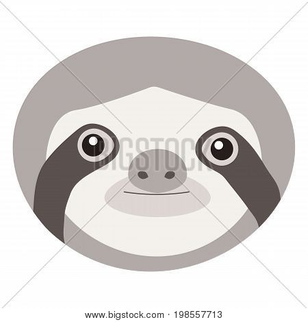 Sloth vector flat icon Flat design of animal face isolated on the white background vector illustration