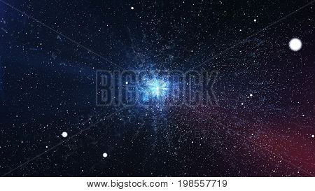 Impressive Big Bang With Bright Stars In The Space