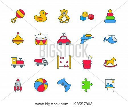 Toys set of thin line flat icons