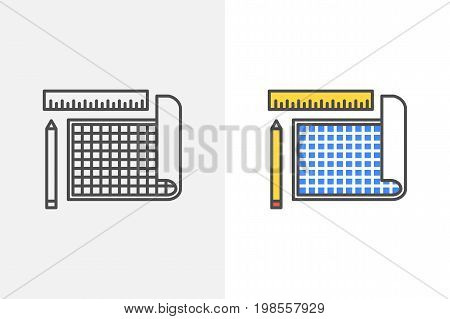 Blue print with pencil and ruler vector icon