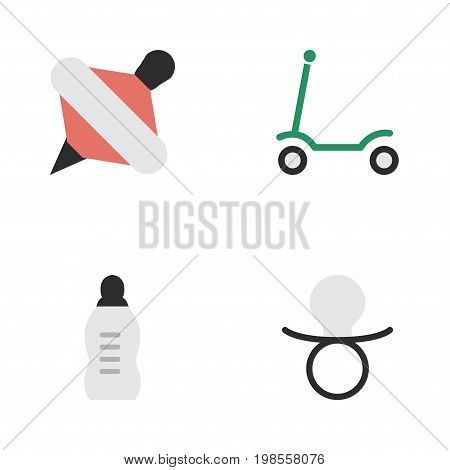 Elements Vial, Yule, Nipple And Other Synonyms Toy, Nipple And Yule.  Vector Illustration Set Of Simple Kid Icons.