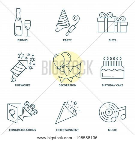 Party and birthday linear vector icons set