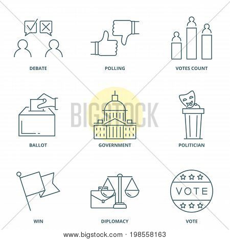 Politics and election linear vector icons set