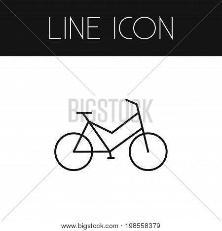 Velocipede Vector Element Can Be Used For Velocipede, Bike, Bicycle Design Concept.  Isolated Bike Outline.