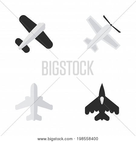 Elements Flying Vehicle, Airliner, Aviation And Other Synonyms Vehicle, Airliner And Craft.  Vector Illustration Set Of Simple Airplane Icons.