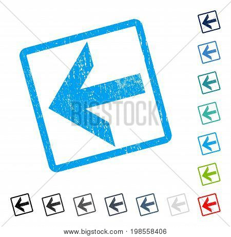 Arrow Left rubber watermark in some color versions.. Vector icon symbol inside rounded rectangular frame with grunge design and unclean texture. Stamp seal illustration, unclean sticker.