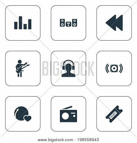 Elements Stabilizer, Guitarist, Backwards And Other Synonyms Guitarist, Antenna And Loudspeaker.  Vector Illustration Set Of Simple Sound Icons.