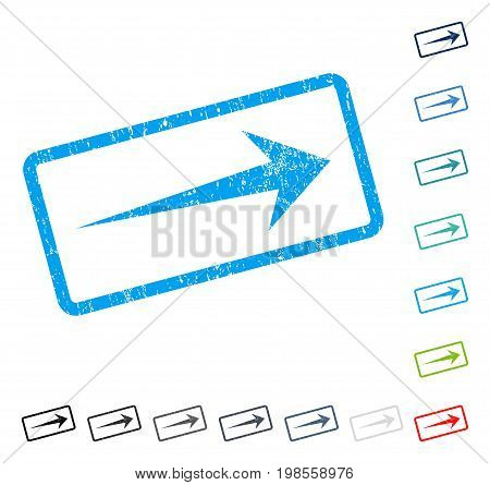 Arrow Right rubber watermark in some color versions.. Vector icon symbol inside rounded rectangular frame with grunge design and scratched texture. Stamp seal illustration, unclean emblem.