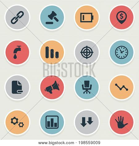 Elements Megaphone, Tribunal, Line Chart And Other Synonyms Sniper, Aiming And Delete.  Vector Illustration Set Of Simple Situation Icons.