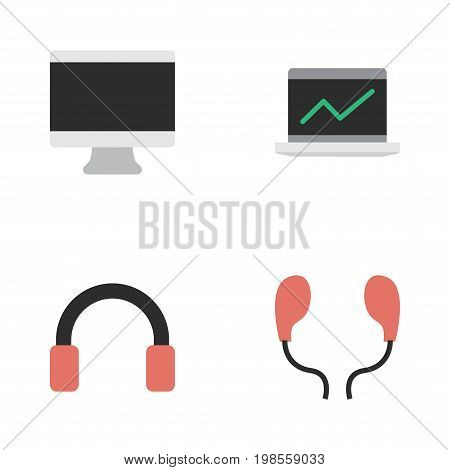 Elements Screen, Notebook, Headphone And Other Synonyms Statistics, Display And Earmuff.  Vector Illustration Set Of Simple Instrument Icons.