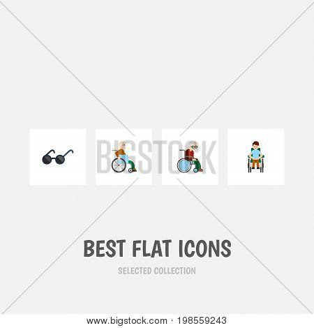 Flat Icon Cripple Set Of Wheelchair, Handicapped Man, Disabled Person Vector Objects