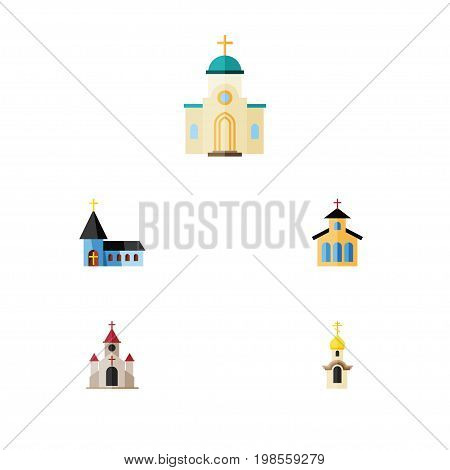 Flat Icon Christian Set Of Structure, Catholic, Christian And Other Vector Objects