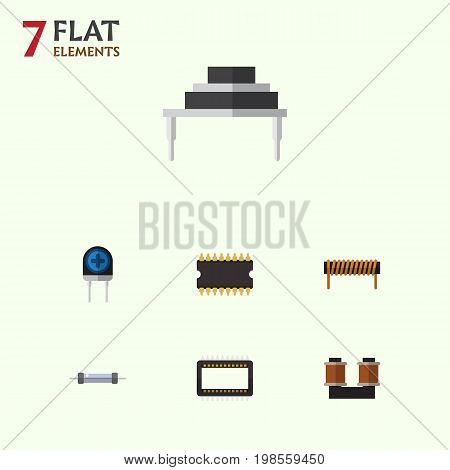 Flat Icon Device Set Of Coil Copper, Bobbin, Microprocessor And Other Vector Objects
