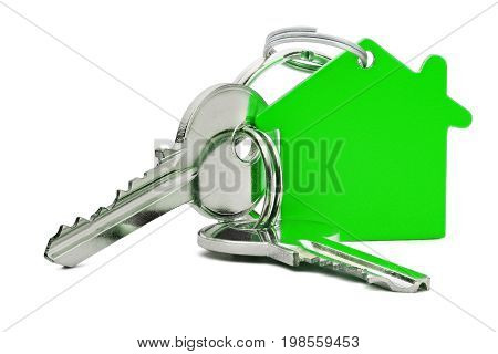 Estate Concept, Green Key Ring  And Keys On Isolated Background