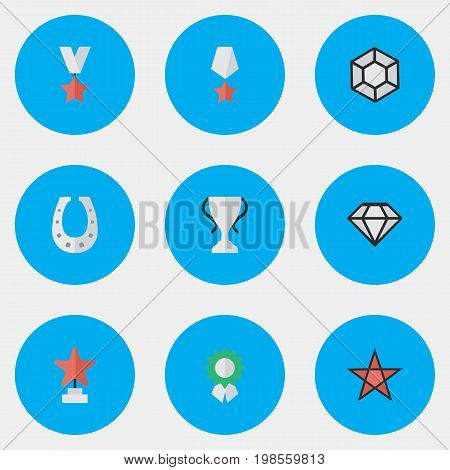 Elements Reward, Trophy, Premium And Other Synonyms First, Shoe And Medal.  Vector Illustration Set Of Simple Champ Icons.