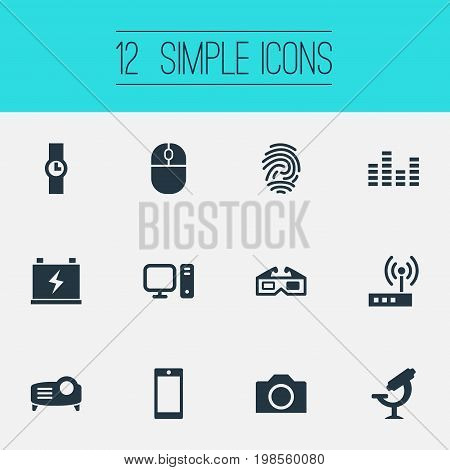 Elements PC, Smartphone, Accumulator And Other Synonyms Volume, Projector And Thumbprint.  Vector Illustration Set Of Simple Gadget Icons.