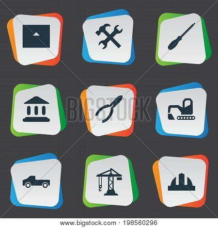 Elements Hoisting Machine, Academy, Workshop And Other Synonyms Screwdriver, Property And Headwear.  Vector Illustration Set Of Simple Work Icons.