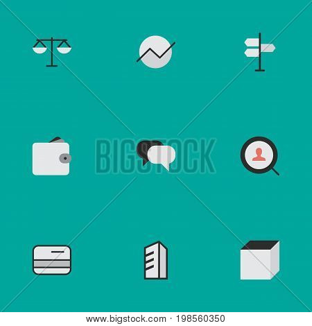 Elements Pay, Purse, Justice And Other Synonyms Cube, Scales And Purse.  Vector Illustration Set Of Simple Job Icons.