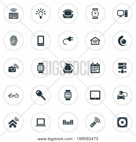 Elements Keypad, Photography, Clock And Other Synonyms Photo, Connection And Electrical.  Vector Illustration Set Of Simple Internet Icons.
