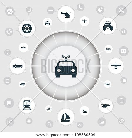 Elements Police Car, Aerocab, Motor And Other Synonyms Cop, Whirlybird And Yacht.  Vector Illustration Set Of Simple Transportation Icons.