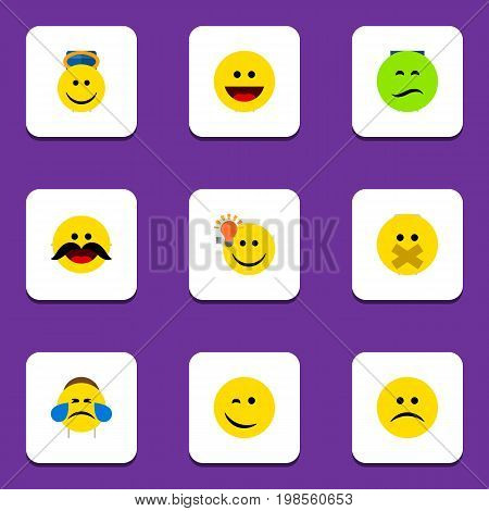 Flat Icon Emoji Set Of Frown, Angel, Winking And Other Vector Objects