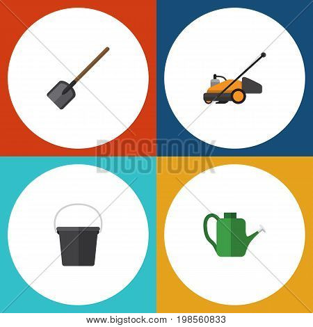 Flat Icon Garden Set Of Pail, Lawn Mower, Bailer And Other Vector Objects