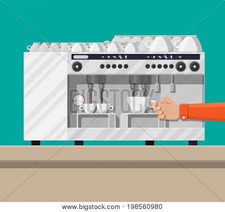 Big professional coffee machine for restaurants bars pubs. Coffee maker with cups. Vector illustration in flat style