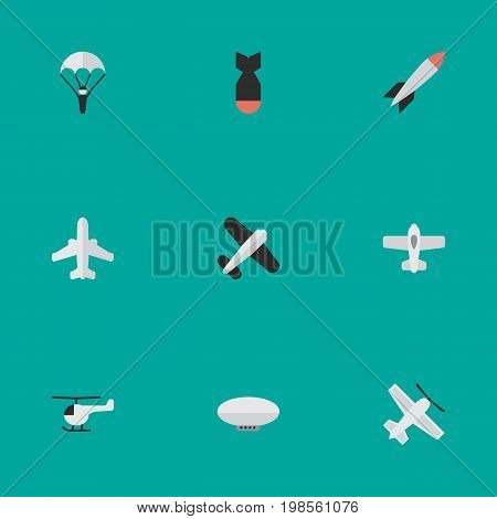 Elements Copter, Craft, Catapults And Other Synonyms Vehicle, Balloons And Plane.  Vector Illustration Set Of Simple Airplane Icons.