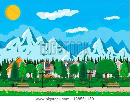 Suburb, wooden bench, street lamp, waste bin in square. Cityscape with buildings and trees. Sky with clouds and sun. Leisure time in summer city park. Mountains. Vector illustration in flat style