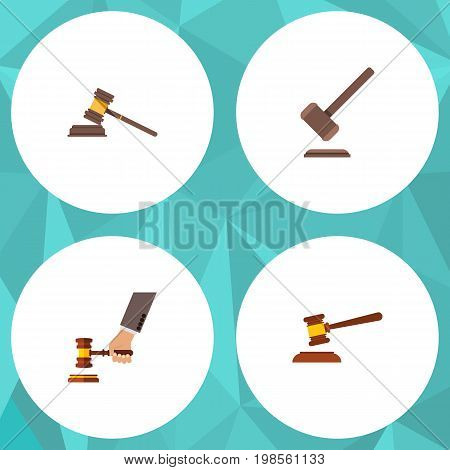 Flat Icon Hammer Set Of Hammer, Tribunal, Crime And Other Vector Objects