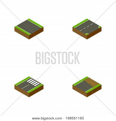 Isometric Way Set Of Down, Without Strip, Unfinished And Other Vector Objects