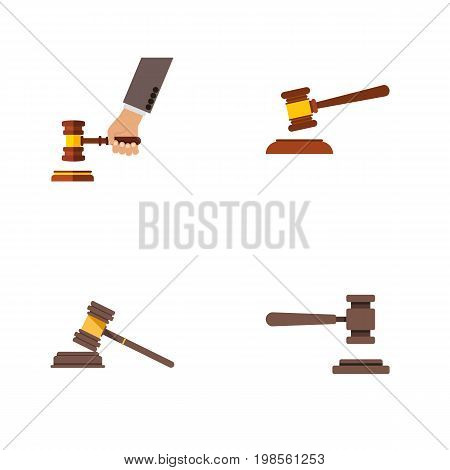 Flat Icon Hammer Set Of Hammer, Legal, Crime And Other Vector Objects