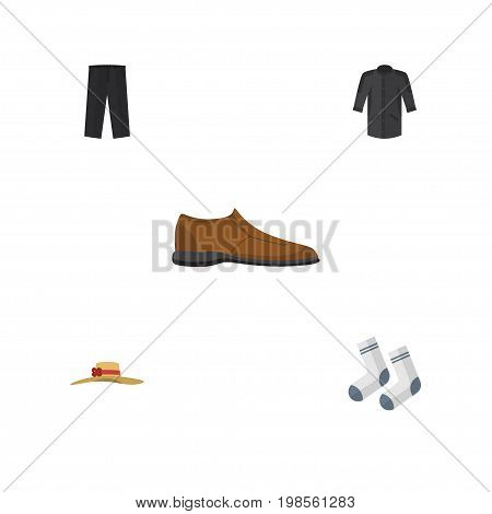Flat Icon Garment Set Of Pants, Foot Textile, Male Footware And Other Vector Objects