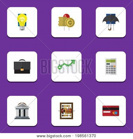 Flat Icon Gain Set Of Counter, Payment, Parasol And Other Vector Objects