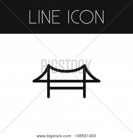 Golden Gate Vector Element Can Be Used For Bridge, Golden, Gate Design Concept.  Isolated Bridge Outline.