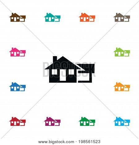 Ranch Vector Element Can Be Used For Farmhouse, Ranch, House Design Concept.  Isolated Farmhouse Icon.