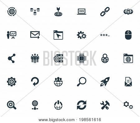 Elements Group, Missile, World Wide Web And Other Synonyms Envelope, Missile And Unit.  Vector Illustration Set Of Simple SEO Icons.