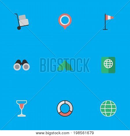Elements Optical Zoom, Certificate, Wine And Other Synonyms Lifebelt, Binoculars And Wind.  Vector Illustration Set Of Simple Vacation Icons.