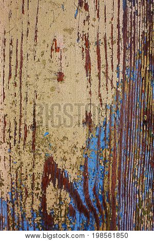 colorful Vintage wood background with peeling paint