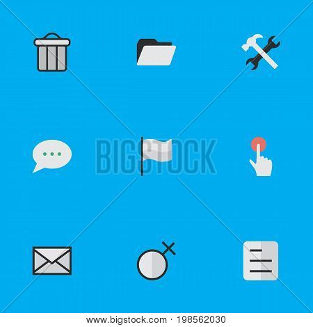 Elements Document, Switch Knob, Flag And Other Synonyms Junk, File And Tools.  Vector Illustration Set Of Simple Interface Icons.