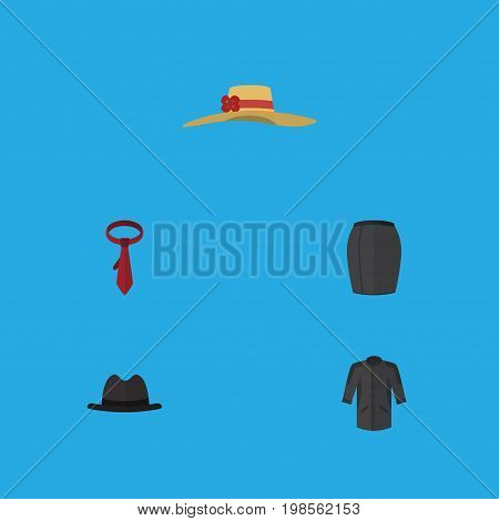 Flat Icon Garment Set Of Cravat, Panama, Uniform And Other Vector Objects
