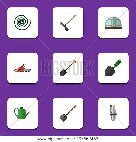 Flat Icon Dacha Set Of Bailer, Shovel, Spade And Other Vector Objects