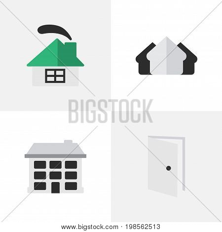 Elements Dwelling, Entry, Structure And Other Synonyms Open, Entry And Estate.  Vector Illustration Set Of Simple Estate Icons.