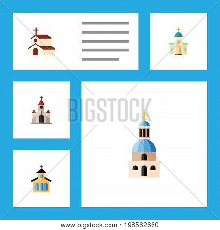 Flat Icon Christian Set Of Religion, Church, Catholic And Other Vector Objects