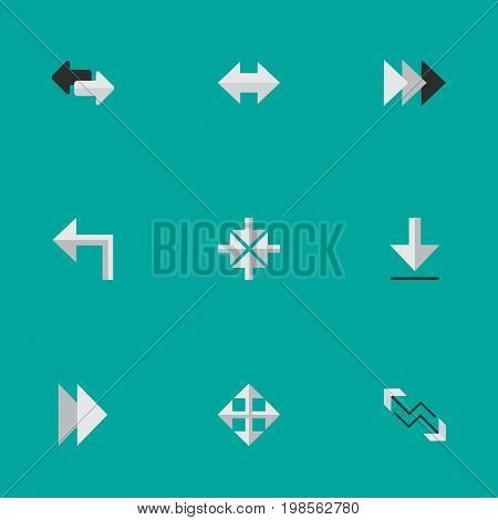 Elements Import, Onward, Inside And Other Synonyms Arrow, Turn And Alert.  Vector Illustration Set Of Simple Indicator Icons.