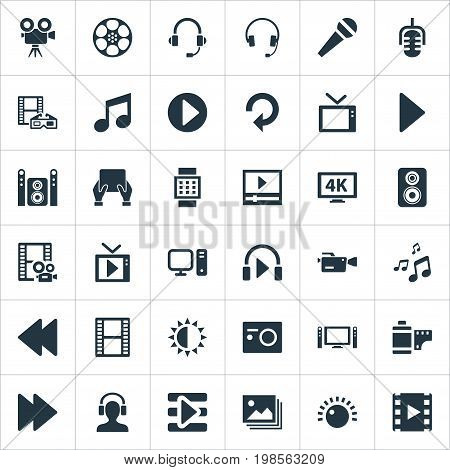 Elements Earmuff, Home Theater, Reel And Other Synonyms Regulation, Shine And Crotchets.  Vector Illustration Set Of Simple Multimedia Icons.