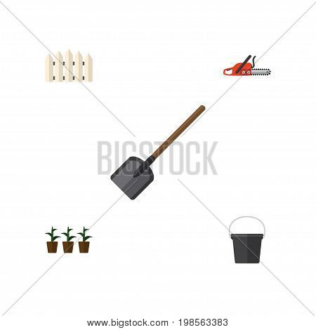 Flat Icon Garden Set Of Hacksaw, Pail, Wooden Barrier And Other Vector Objects